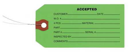 "2-3/8"" x 4-3/4"" Green Inspection Tag,  Accepted,  Pk1000"