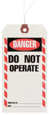 "3-1/8"" x 6-1/4"" White Inspection Tag,  Danger/Do Not Operate,  Pk1000"
