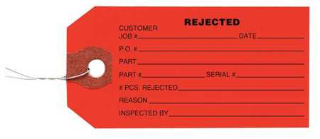 "2-3/8"" x 4-3/4"" Red Inspection Tag,  Rejected,  Pk1000"