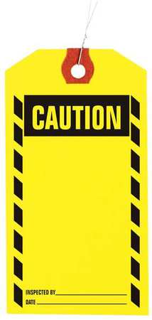 "3-1/8"" x 6-1/4"" Yellow Inspection Tag,  Caution,  Pk1000"