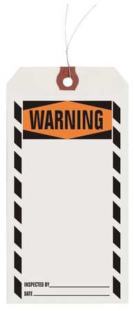 "3-1/8"" x 6-1/4"" White Inspection Tag,  Warning,  Pk1000"