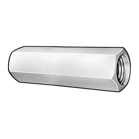 "1/4""-20 Dia. x 1-1/2"" L x 7/16"" W Grade 2 Steel Zinc Chromate Finish Coupling Nut,  10 pk."