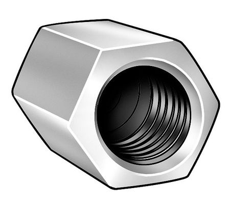 "1/2""-13 and 1/4""-20 Dia. x 1-1/4"" L x 5/8"" W Steel Zinc Chromate Finish Coupling Nut Reducer,  10 pk."