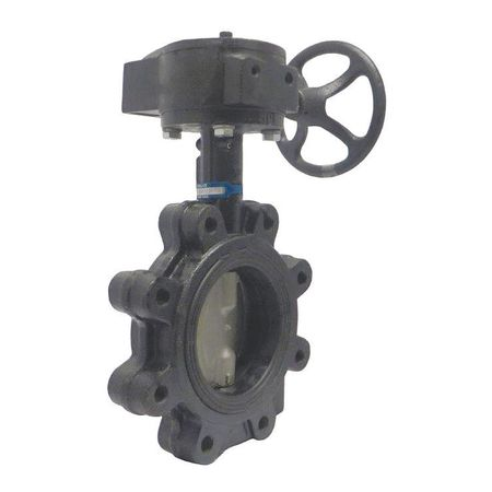Butterfly Valve, Lug, 6 In, CI, EPDM, Gear