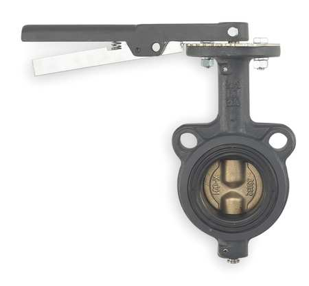 Butterfly Valve, Wafer, 2 1/2 In, CI, Lever
