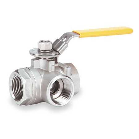 "3/4"" FNPT Stainless Steel Ball Valve 3-Way"