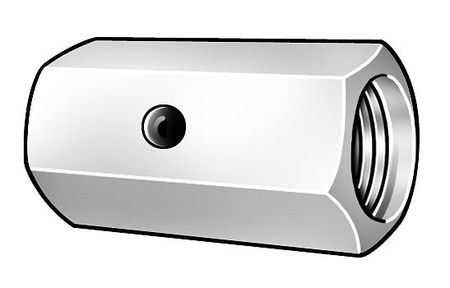 "1""-8 Dia. x 3"" L x 1-1/2"" W Steel Zinc Chromate Finish Coupling Nut,  2 pk."