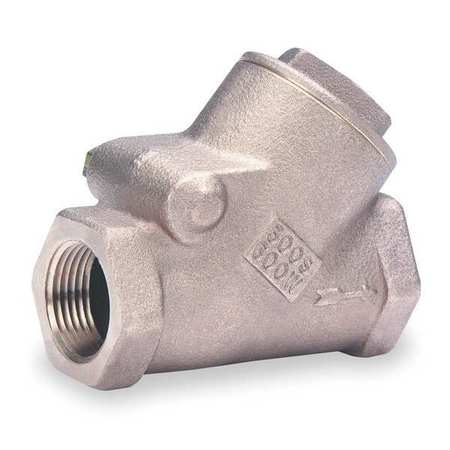 Swing Y Check Valve, Bronze, 1-1/2 In.