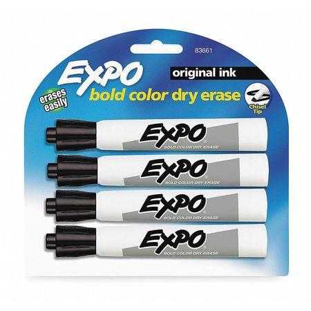 Dry Erase Marker,  Chisel Tip Black PK4