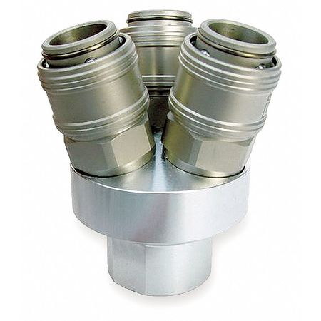 Pneumatic Manifold, 3 Way, 1/4 In NPT, SS