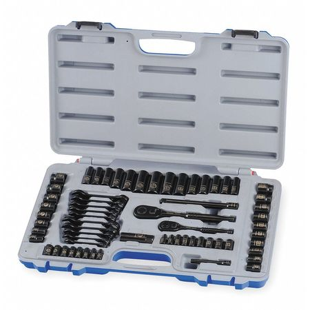 "Socket Wrench Set, 1/4"",  3/8"" Dr, 64 pc"