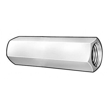 "#10-24 Dia. x 3/4"" L x 5/16"" W Steel Zinc Plated Finish Coupling Nut,  20 pk."
