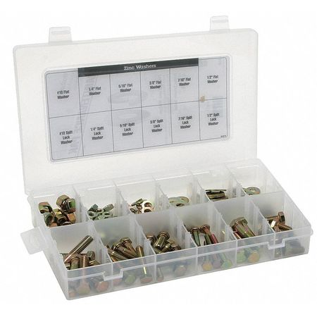 Zinc Plated Finish Steel Nuts and Washer Assortment,  800 pc.