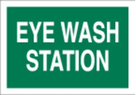 Eye Wash Sign, 7 x 10In, WHT/GRN, ENG, Text