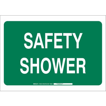 Safety Shower Sign, 10 x 14In, WHT/GRN, ENG