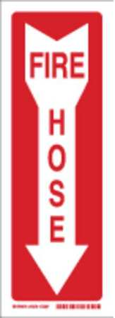 Fire Hose Sign, 14 x 5In, R/WHT, FH, ENG