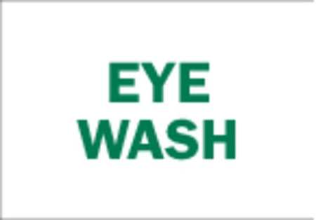 Eye Wash Sign, 10 x 14In, GRN/WHT, Eye Wash