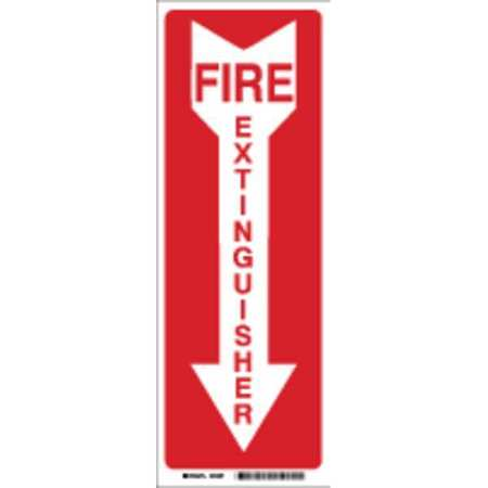 Fire Extinguisher Sign, 24 x 4In, R/WHT