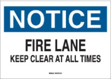 Fire Lane Sign, 10 x 14In, BL and BK/WHT