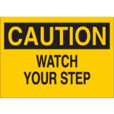 Caution Sign, 7 x 10In, BK/YEL, PLSTC, ENG