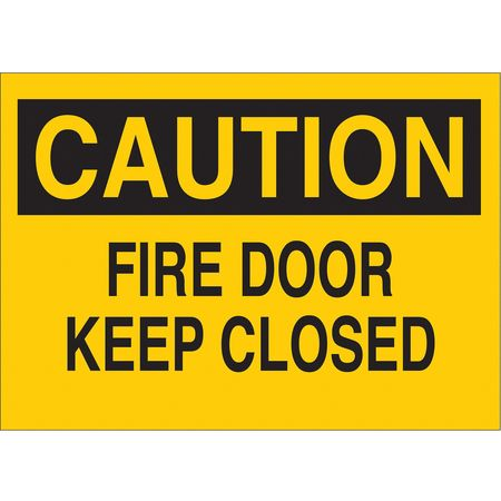Fire Door Sign, 10 x 14In, BK/YEL, ENG, Text