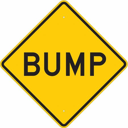 Traffic Sign, 24 x 24In, BK/YEL, Bump, Text
