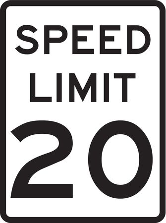 Traffic Sign, 24 x 18In, BK/WHT, SP LIM 20