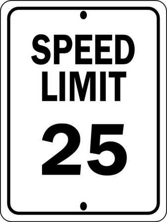 Traffic Sign, 24 x 18In, BK/WHT, SP LIM 25