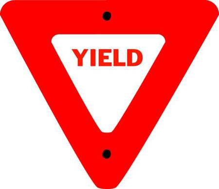 Traffic Sign, 24 x 24In, R/WHT, Yield, R1-2