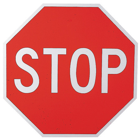 Traffic Sign, 12 x 12In, WHT/R, Stop, Text