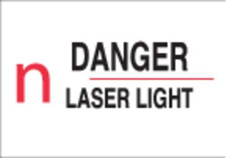 Danger Laser Sign, 5 x 14In, R and BK/WHT