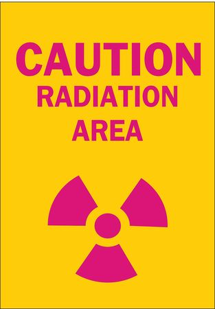 Caution Radiation Sign, 14 x 10In, AL, ENG