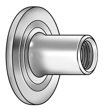 "1/4""-20 Steel Round Base Weld Nut,  100 pk."