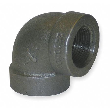 "1/4"" FNPT Black Malleable Iron 90 Degree Elbow"