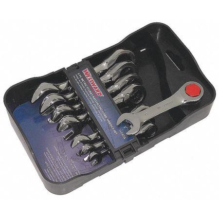 Ratcheting Wrench Set, Combination, Stubby