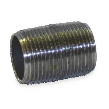 "3/8"" NPT Threaded Black Close Pipe Nipple Sch 80"