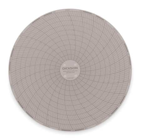 Circular Chart, 6 In, 0 to 100F, 7 Day, PK60