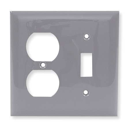 Toggle Switch/Duplex Plate, 2 Gang, Gray