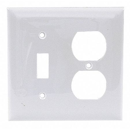 Toggle Switch/Duplex Plate, 2 Gang, White