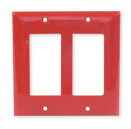 Rocker Wall Plate, 2 Gang, Red