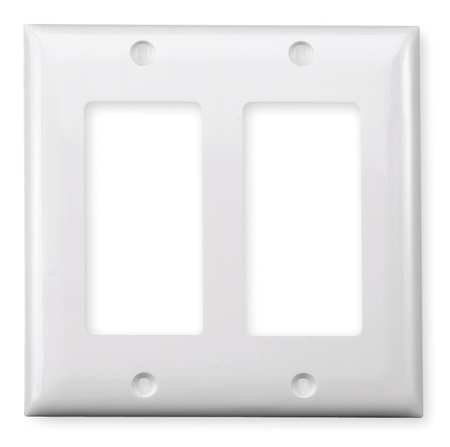 Rocker Wall Plate, 2 Gang, White