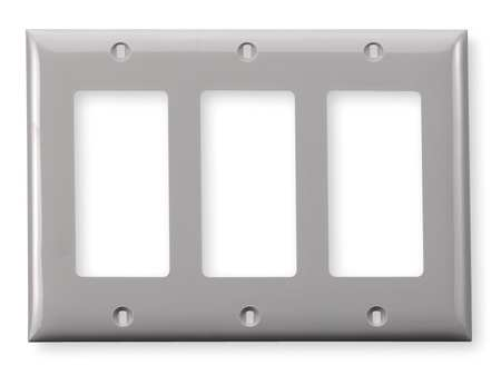 Rocker Wall Plate, 3 Gang, Gray