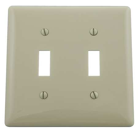 Toggle Switch Wall Plate, 2 Gang, Ivory