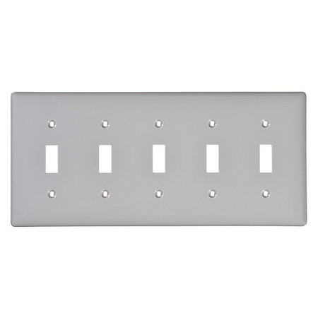 Toggle Switch Wall Plate, 5 Gang, Gray