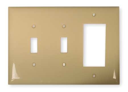 Rocker/2 Toggle Wall Plate, 3 Gang, Ivory
