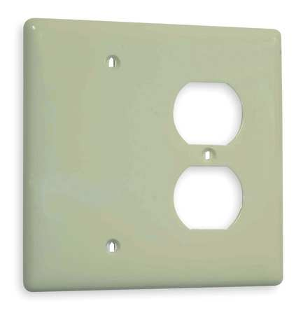 Duplex/Blank Wall Plate, 2 Gang, Ivory