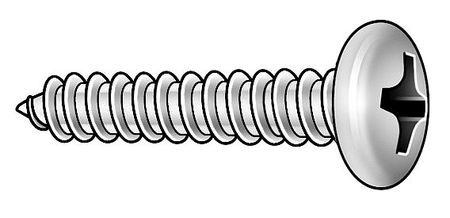 Metal Screw, Pan, #4, 3/8 In L, PK100