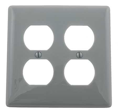 Duplex Wall Plate, 2 Gang, Gray