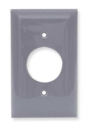 Single Receptacle Plate, 1 Gang, Gray