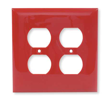 Duplex Wall Plate, 2 Gang, Red
